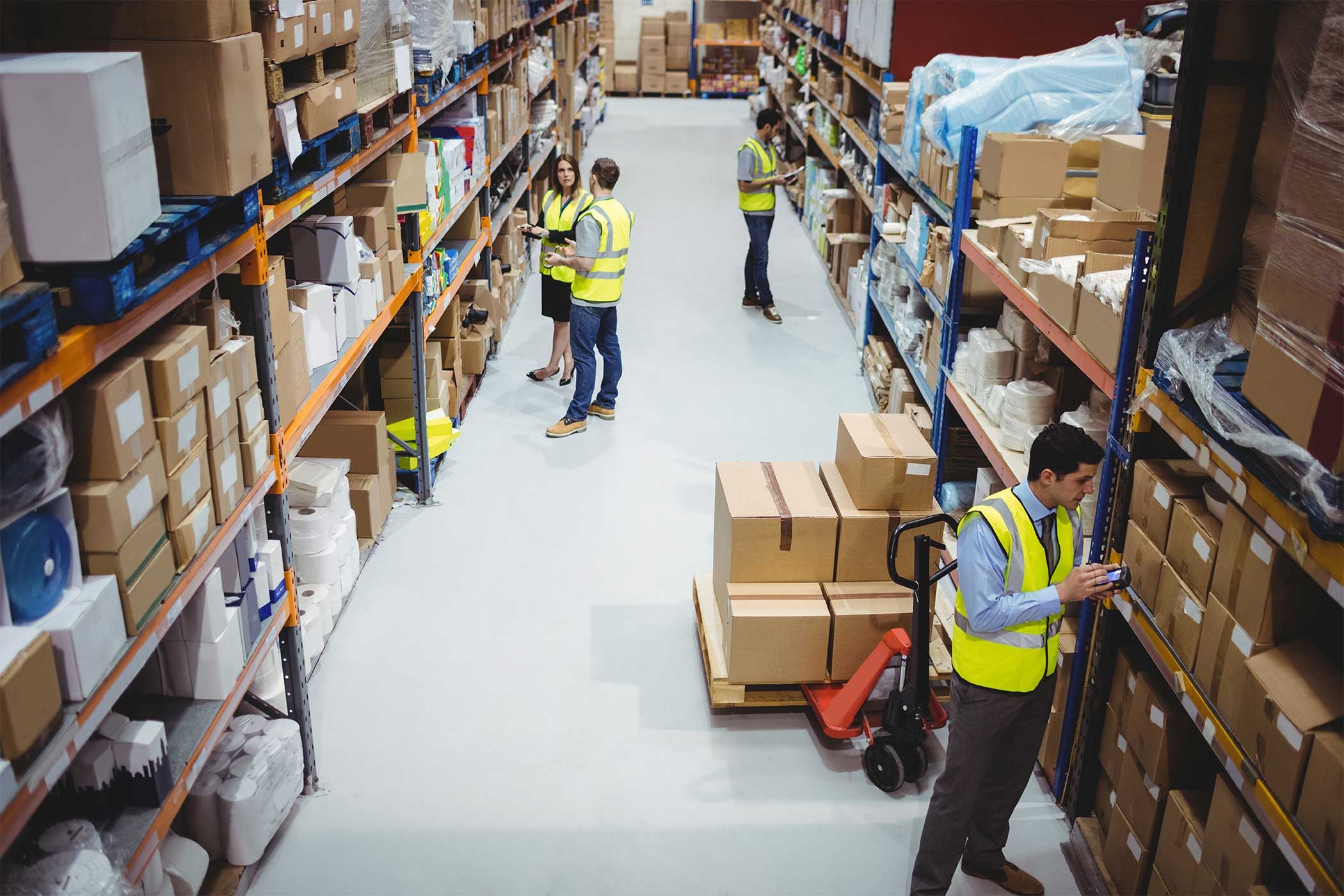 Warehouse with workers moving